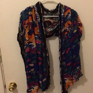 Zara scarf with bright colors and dragon print